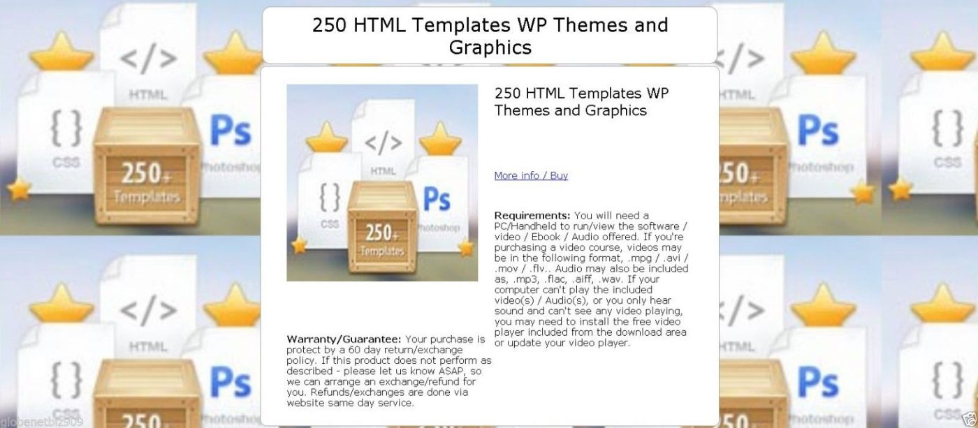 250 HTML Templates Wordpress Themes and Graphics - CD/DVD 1
