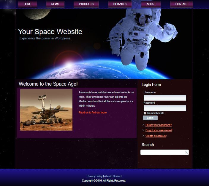 Custom Designed Outer Space WordPress Template - Free Installation Service 1