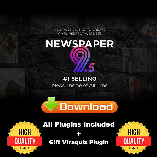 Newspaper 9.5 Wordpress Theme with All Plugins Included + Viraquiz Plugen 1
