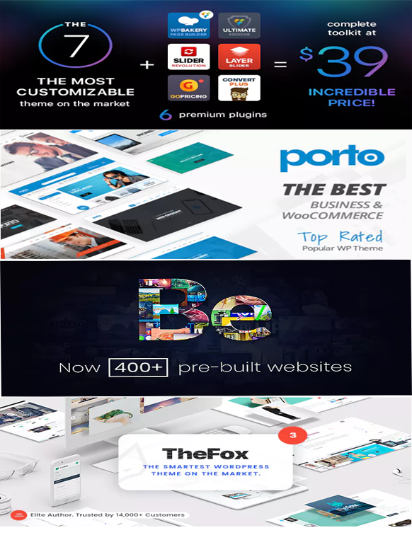 Wordpress Theme Pack - The7, TheFox, BeTheme, Porto - Latest version 1