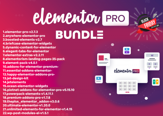 Elementor PRO + 22 Premium Addons  Plugins Templates WordPress Plugin Updated 11