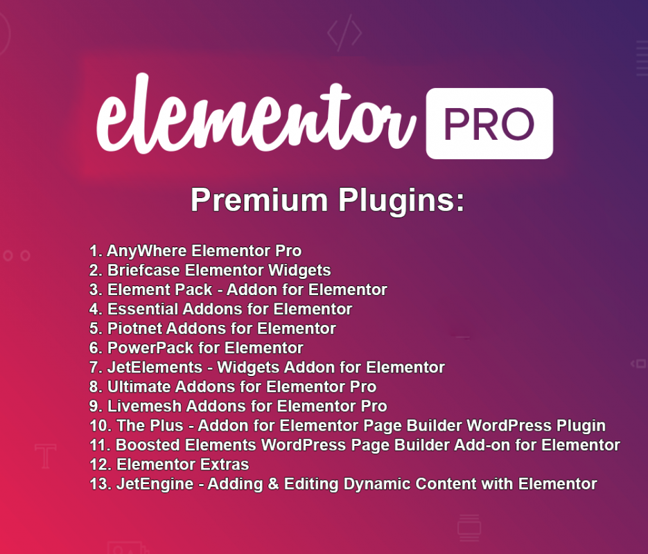Elementor PRO + 13 Premium Plugins + Templates - WordPress Plugin - Updated 3